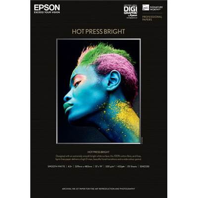 Epson Papier Hot Press Bright A3+ (25f) 330g - Agréé Digigraphie