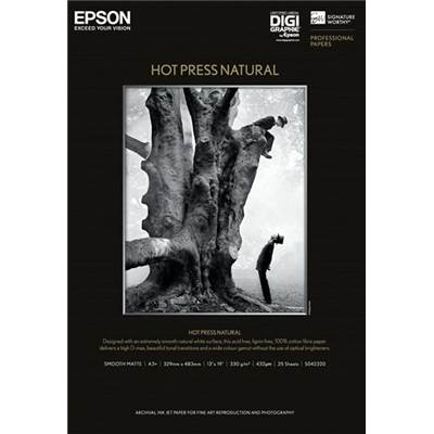 Epson Papier Hot Press Natural A2 (25f) 340g - Agréé Digigraphie
