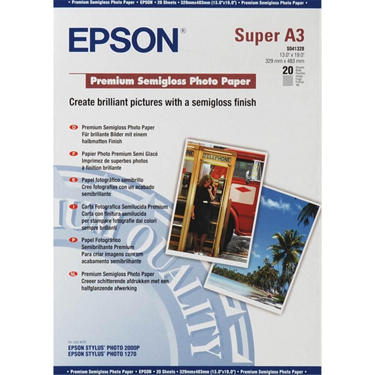 epson papier photo premium semi glac a3 20 feuilles 251g. Black Bedroom Furniture Sets. Home Design Ideas